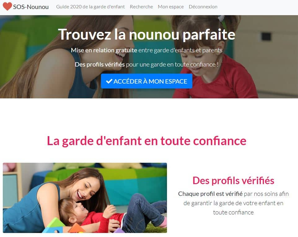 SOS Nounou, site de garde d'enfant entièrement gratuit